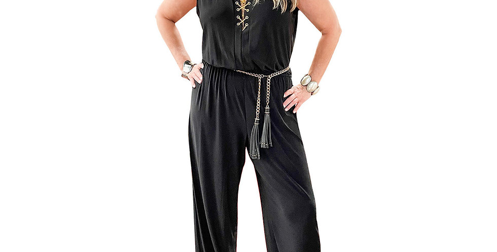 Stretch Matte Jersey Jumpsuit with Chain Detail