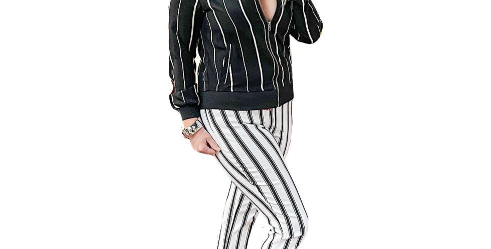 Variegated Stripe Zip Blouson Shirt Jacket