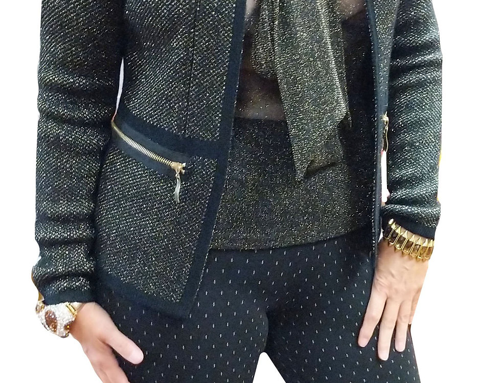 Black and Gold Metallic Stretch Miracle Pant