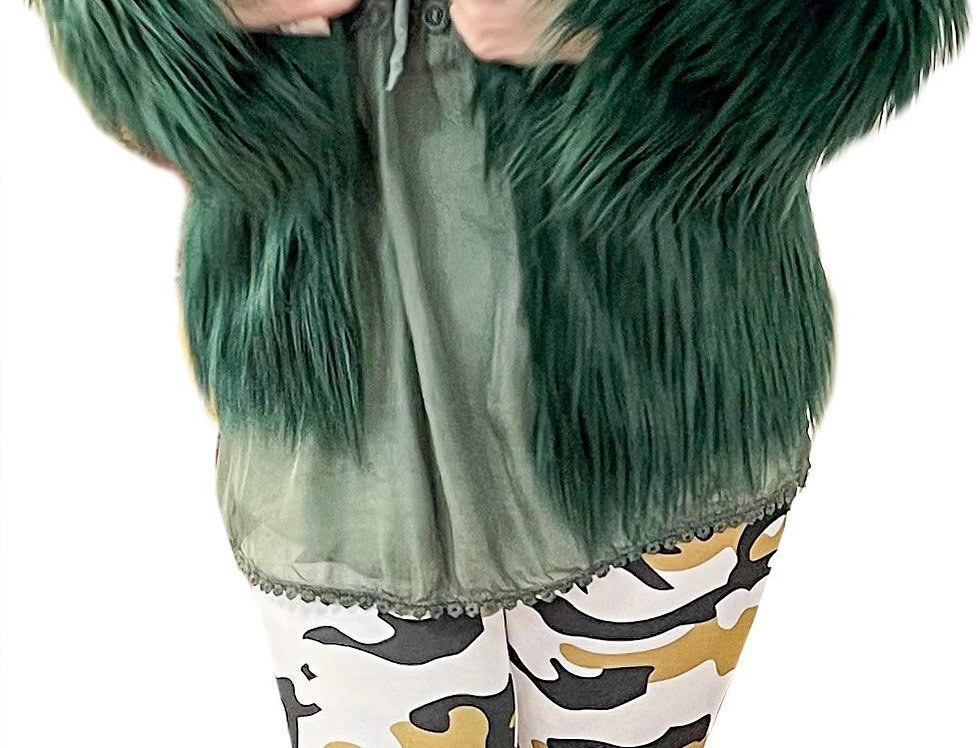 Emerald Faux Fur Shag Jacket