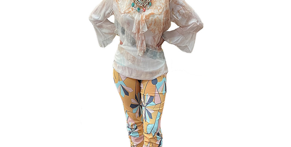 Abstract Techno Ruched Capri
