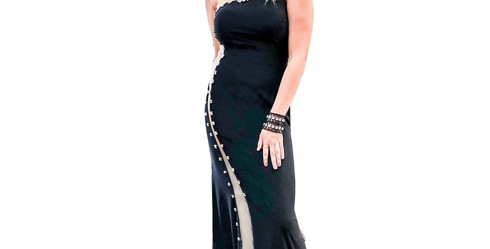 One Shoulder Sheer Side Cutout Gown