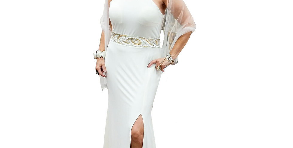 Gold & White Decal Jersey Halter Neck Gown w/ Leg Slit