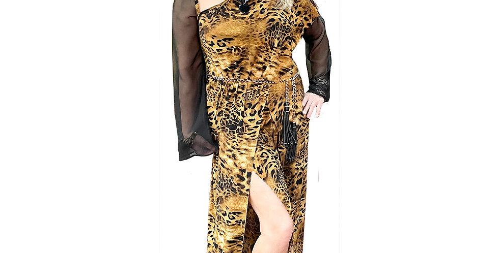 Stretch Leopard Jersey Asymmetric Jumpsuit