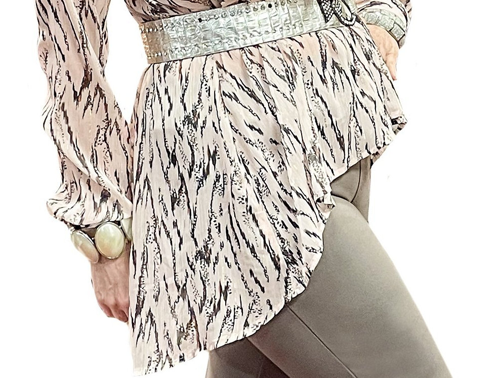 French Brushstroke High/Low Sheer Crepe Tunic Blouse