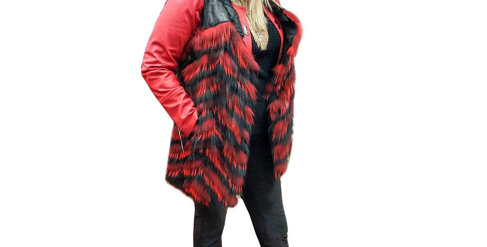 Feathered Fox Chevron Fur Vest