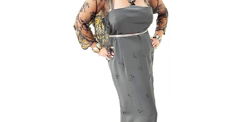 Slate Silk Crepe Subtle Beaded Gown w/ Sheer Beaded Bolero