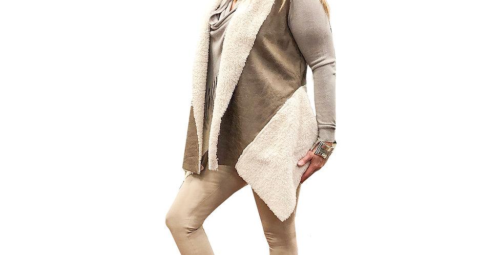 Faux Sherpa Asymmetric Vest