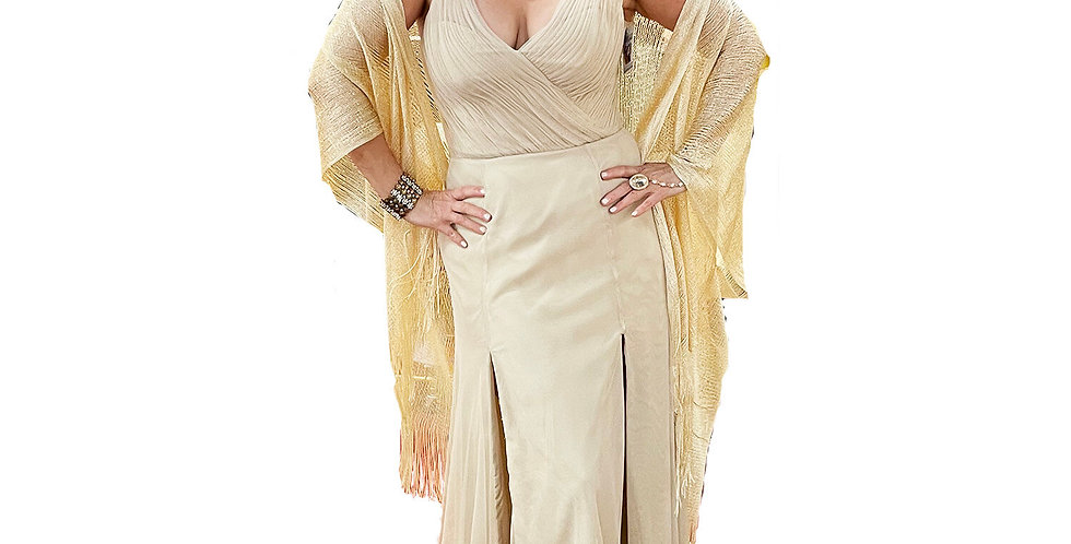 Nude Double-Ply Stretch Mesh Double-Slit Gown