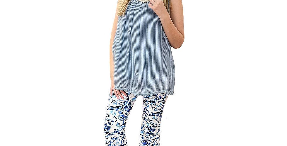 French Cotton Voile Stripe Cami Tunic