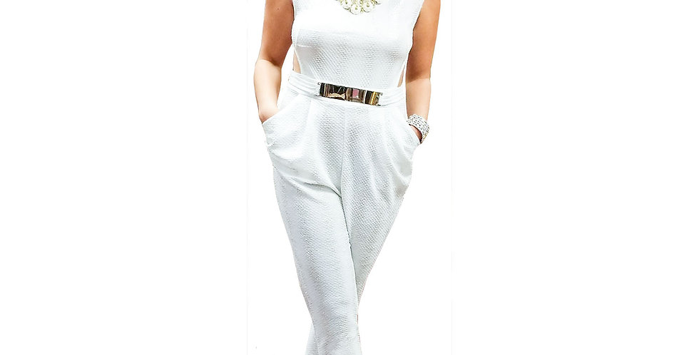 White Gold Stretch Knit Self Belted Jumpsuit with Open Back