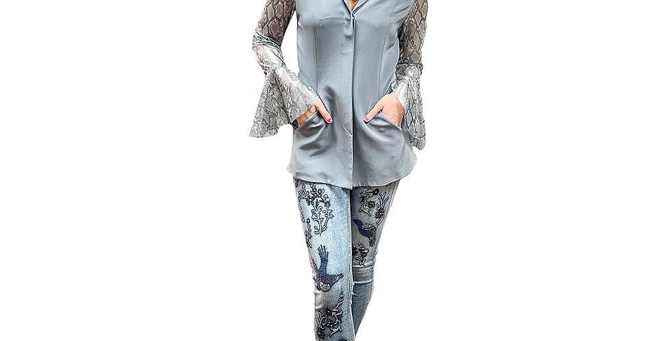 Custom Silver Silk Blazer with Sheer Python Print Sleeve