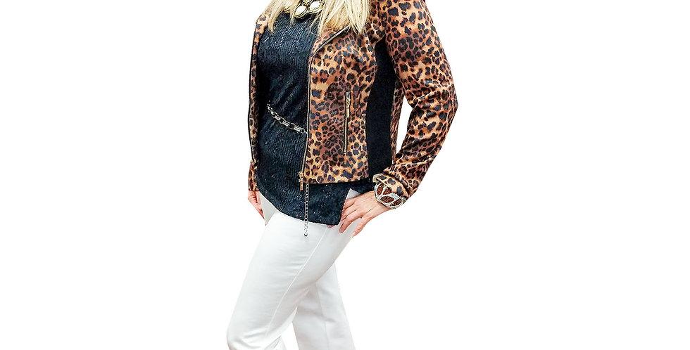 Stretch Leopard Ponte Moto Jacket with Knit Stretch Side Panels