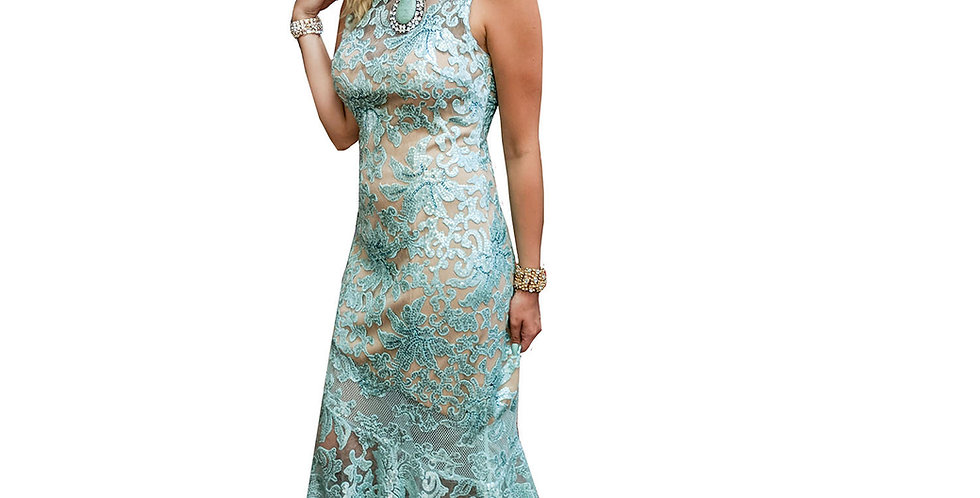 Aqua Sea Nymph Lace Over Nude Gown