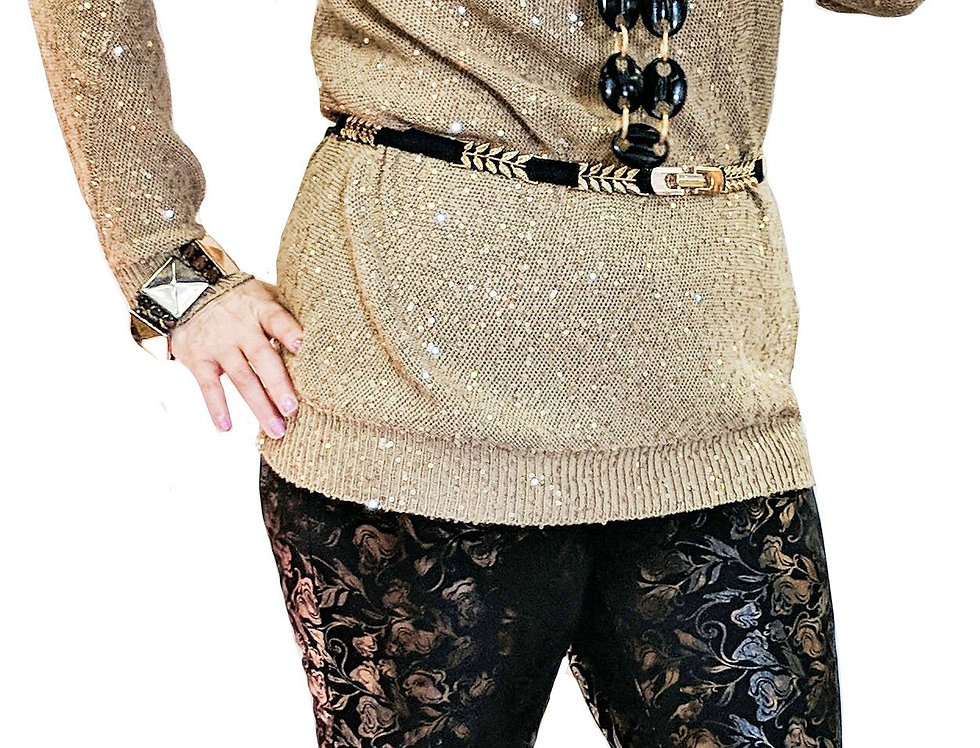 Black, Gold , and Bronze Abstract Stretch Miracle Pant