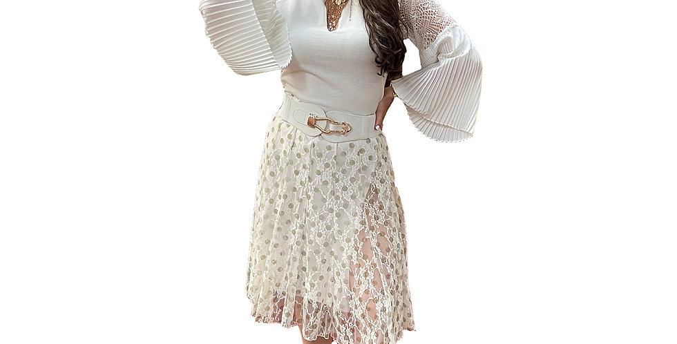 Tan & White Dot Stretch Mesh Fully Lined Skirt