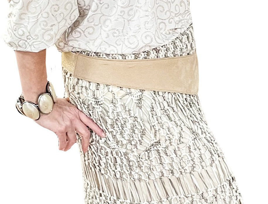 Stretch Jersey Lined Natural Crochet Fringed Maxi Skirt
