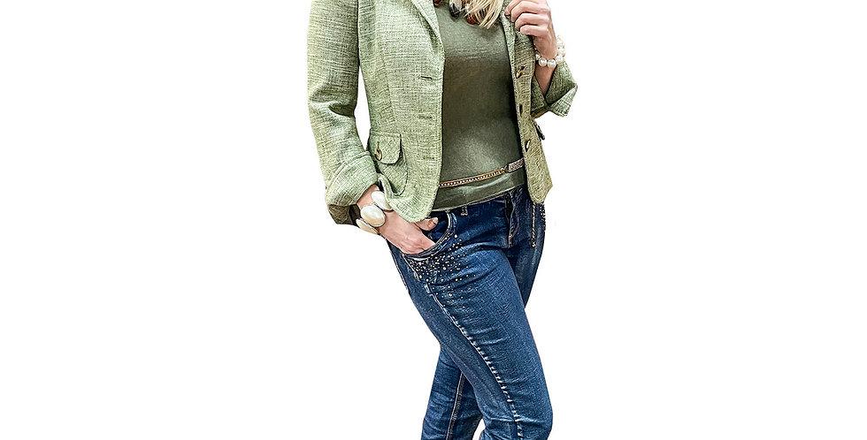 Retro Tweed Cuffed Blazer Jacket