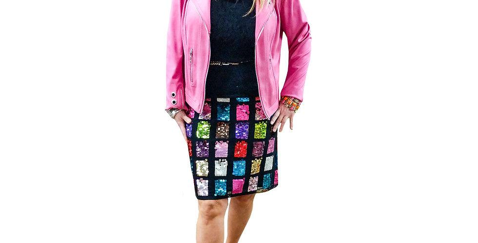 Sequin Square Color Block Mini Skirt