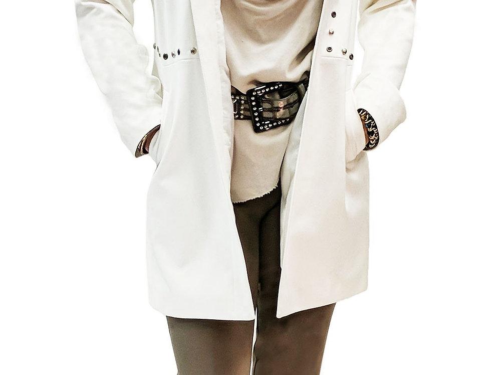 Icy Gray Stud Embellished Vegan Leather Crombie Coat