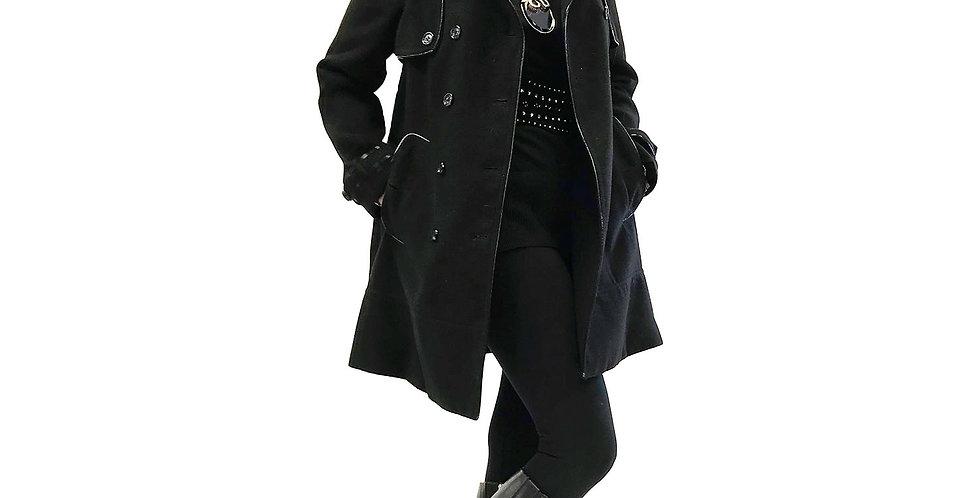 Vegan Leather Trimmed A-Line Wool Coat