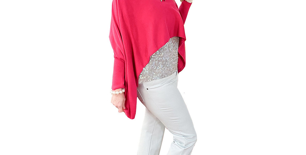 Raspberry High-Low Ribbed Knit Tunic