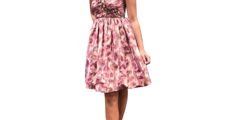 Asymmetric Pink Plum Taffeta Party Dress