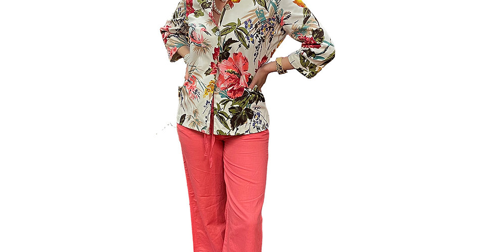 French Stretch Cotton Floral Print Jacket