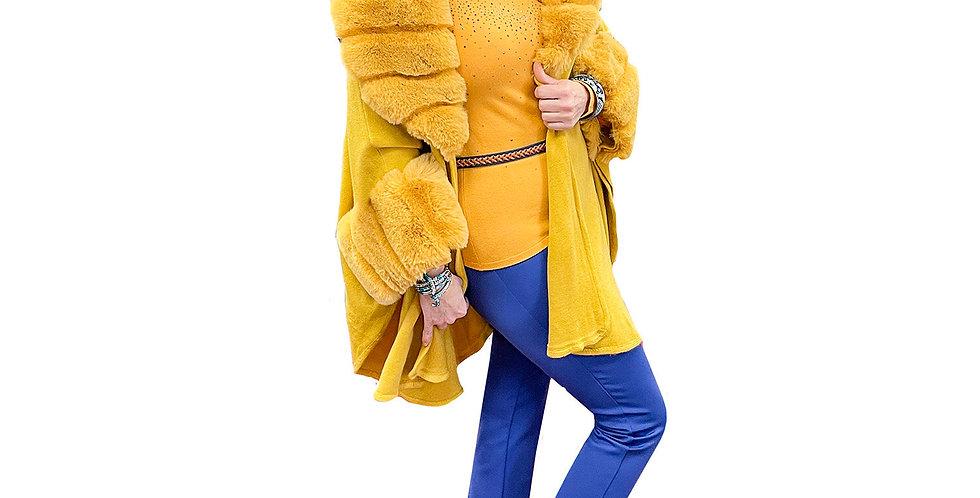 Lemon Meringue Faux Fur Cashmere Touch Knit Cape Coat