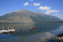 fishermen boat on lake