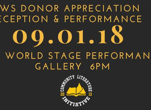 Performance Event - September 1, 2018 Community Literature Donor Appreciation