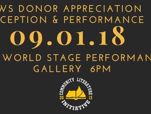 Performance Event - September 1, 2018 Community Literature Donor Appreciation