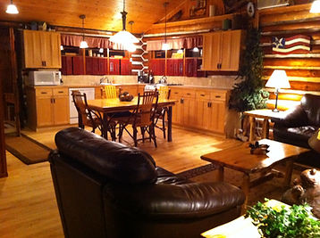 traverse city cabin rental - kitchen and living room