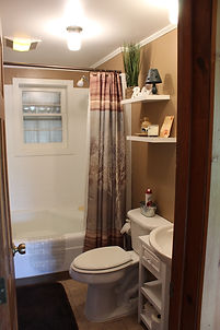 bathroom in traverse city log cabin for rent