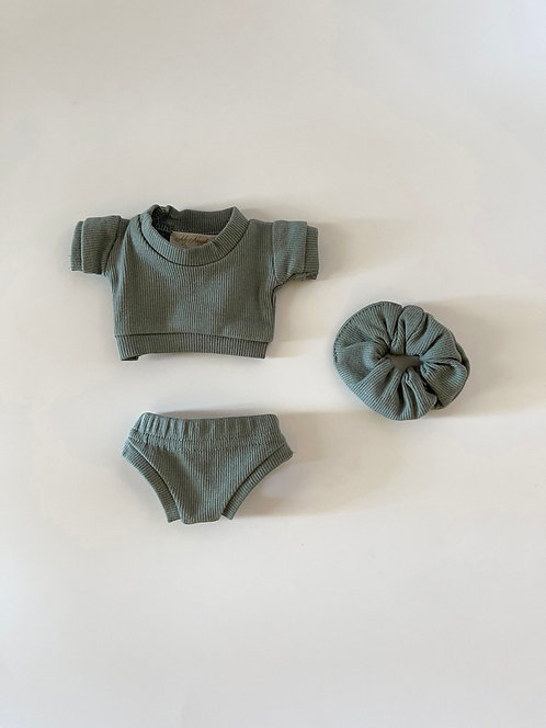 RIBBED SET OF 3 IN SAGE