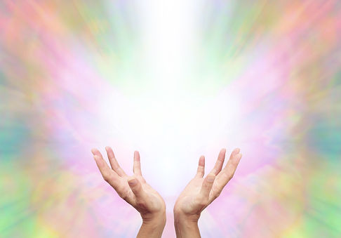 Angelic Energy Healer - Female energy worker with hands outstretched and open upwards sens