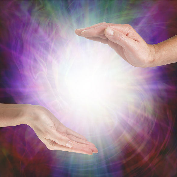 Together our healing energies combine to create a powerful influence - male hand opposite