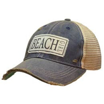 "Vintage distressed ""BEACH GIRL"" trucker hat"