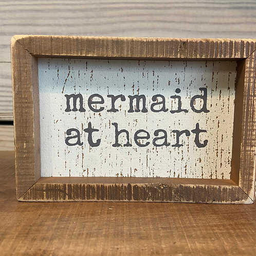 Mermaid at heart wooden sign