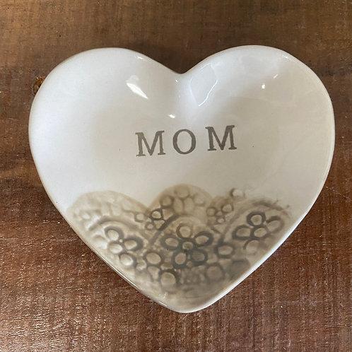 MOM ceramic heart dish
