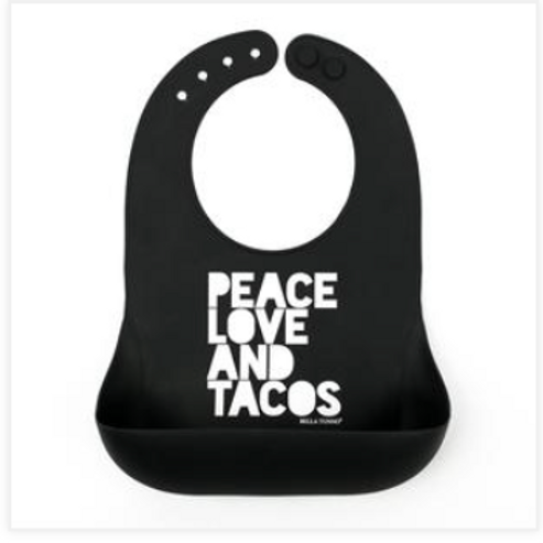 Peace Love and Tacos silicone bib