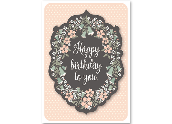 Flora Bella birthday card in blush