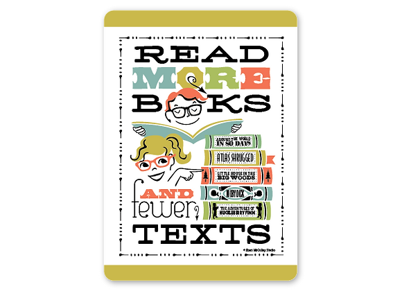Read more books and fewer texts card (vertical)