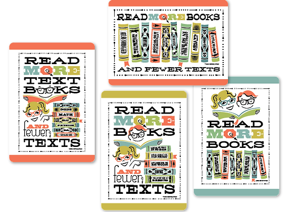 Read more books cards (set of 4, single-sided)