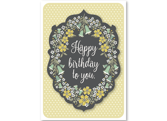 Flora Bella birthday card in butter