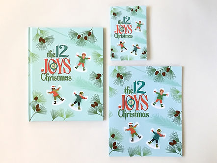 "three sizes of the book ""The 12 Joys of Christmas"""