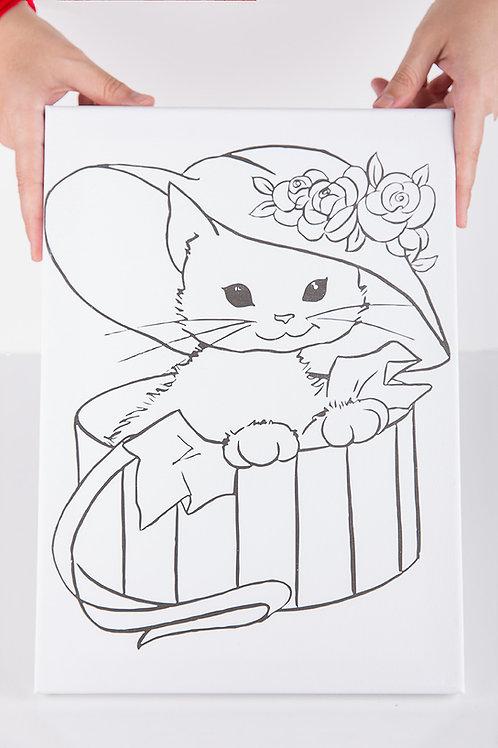 Kedi Desenli Tuval