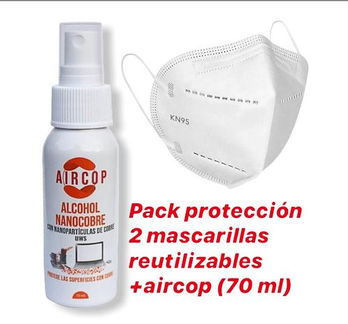 2 mascarillas N95 reutilizabas antiviral + 1 aircop