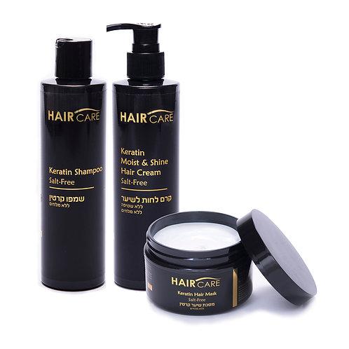 Triple pack hair care keratin salt free