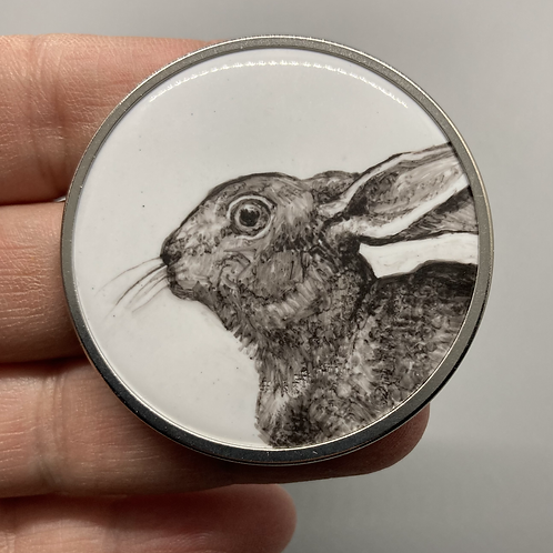 Bunny Portrait (round) Brooch by Harriet Taylor-Thorpe